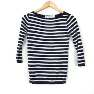 Zara Knit Black Striped Cotton Crew Neck Sweater
